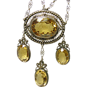 Sterling Silver Filigree Festoon Style Necklace with Brilliant Citrines