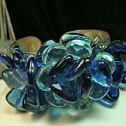 Cuff Style Bracelet in Sterling Silver with Blue and Aqua Crystals and Freshwater Pearls