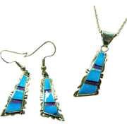 Sterling Silver Inlay Pendant and Chain with Matching Earrings