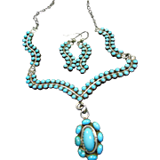 Sterling Silver Sterling Silver and Snake Eye Turquoise Necklace and Earrings
