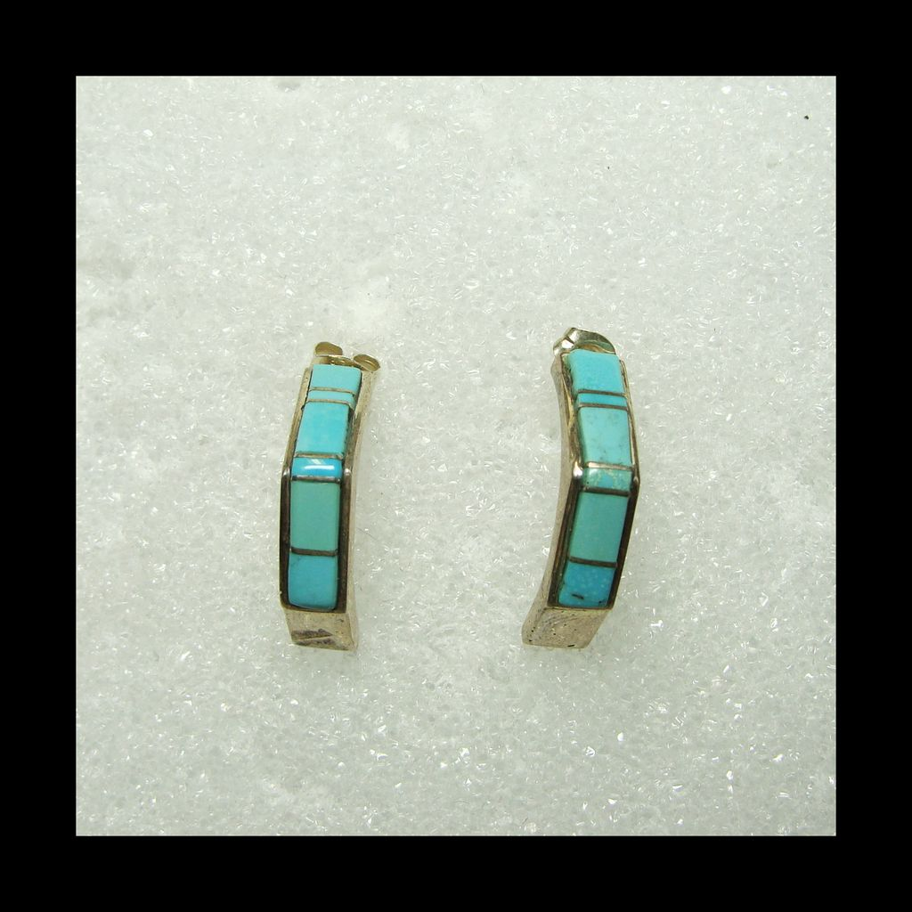 Sterling Silver Half Hoop Earrings with Turquoise Inlay