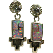 Sterling Silver Earrings with  Pink Lab Grown Opal Inlay