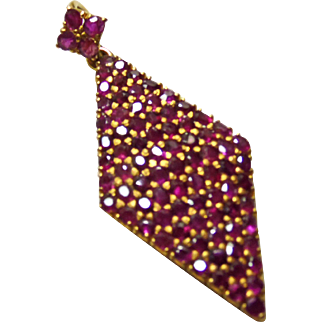 18k Diamond Shape Ruby Pendant