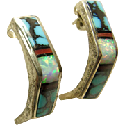 Sterling Silver 1/4 Hoop Earrings Decorated with Inlay