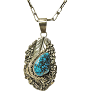 Stunning  Native American Spiderweb Turquoise Pendant on a Vintage Sterling Chain