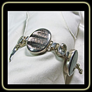 Hawk's Eye and White Topaz Sterling Silver Bracelet