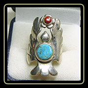 Sterling Silver Angel Ring with Turquoise and Coral