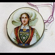 Enamel on Metal Portrait Pin of A Girl in Swiss Regional Costume