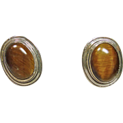 Sterling Silver Earrings with Tiger's Eye Cabochons