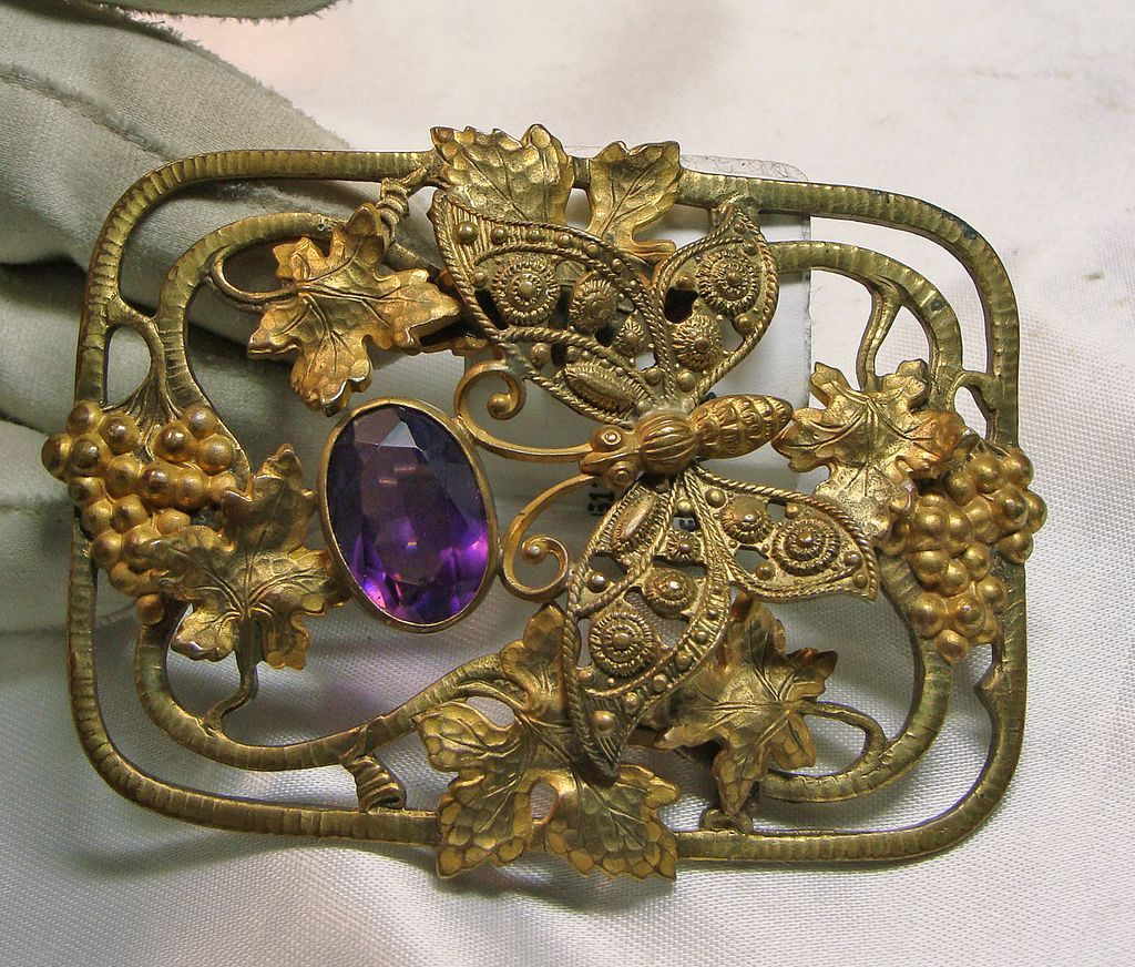 art nouveau gold over brass sash broach with a butterfly. Black Bedroom Furniture Sets. Home Design Ideas