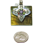 Square Labradorite Pendant with Sterling Silver and Color Gemstones