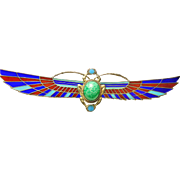 Egyptian Revival Enamel Winged Scarab Pin