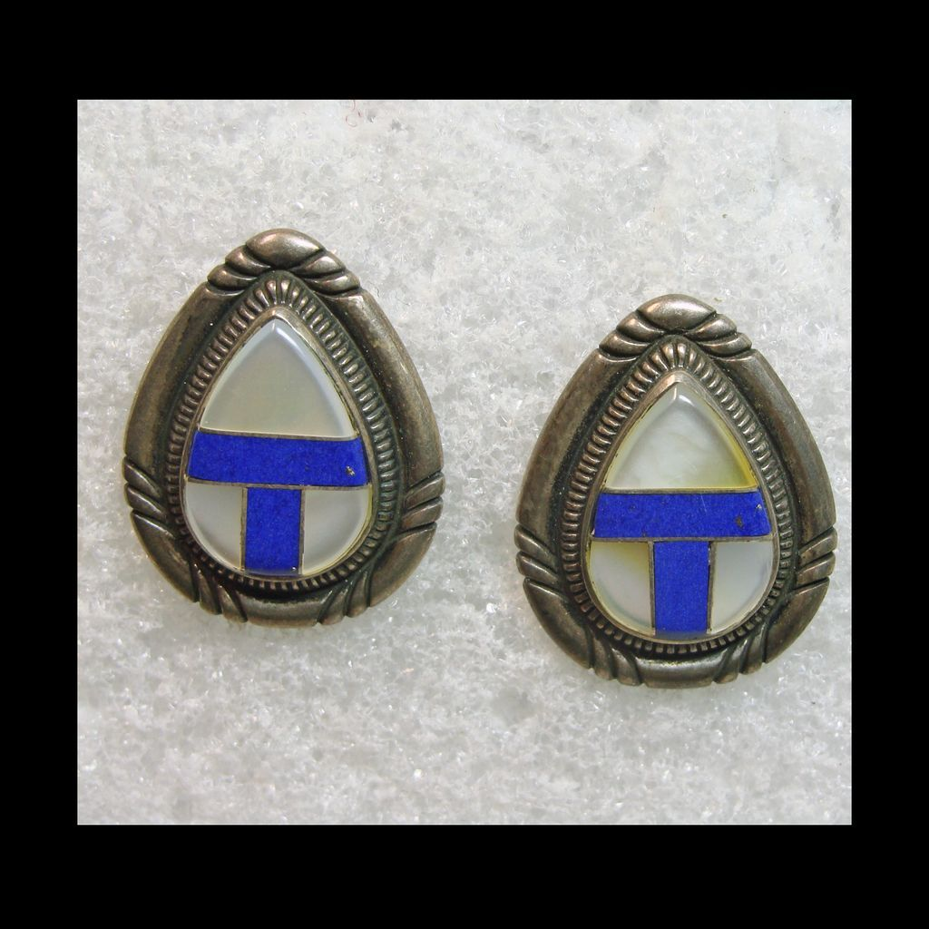 Pear Shape Shadowbox Style Earrings in Sterling with Lapis and MOP Inlay