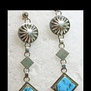 Navajo Sterling Silver and Turquoise Earrings