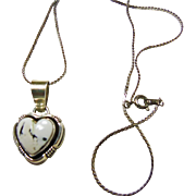 Sterling Silver White Buffalo Heart Shape Pendant on Sterling Chain