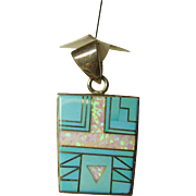 Sterling Silver Pendant with Turquoise and Opal Inlay