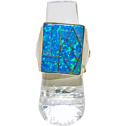 Sterling Silver Signet Style Ring with Opal Inlay