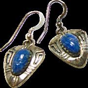 Sterling Silver Arrow Shape Earrings with Denim Lapis