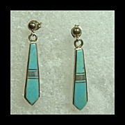 Sterling Silver Earrings with Turquoise Inlay