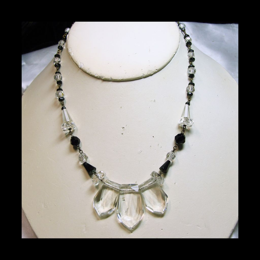 50% Off - 1930s Clear Crystal and Black Glass Bead Necklace