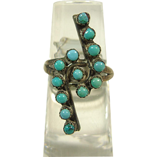 Bird's Eye Turquoise and Sterling Silver Ring