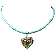 Sterling Silver Heart Pendant with Inlay on Turquoise Heishi Necklace
