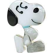 Sterling Silver Snoopy Pin/Pendant with Stone Inlay