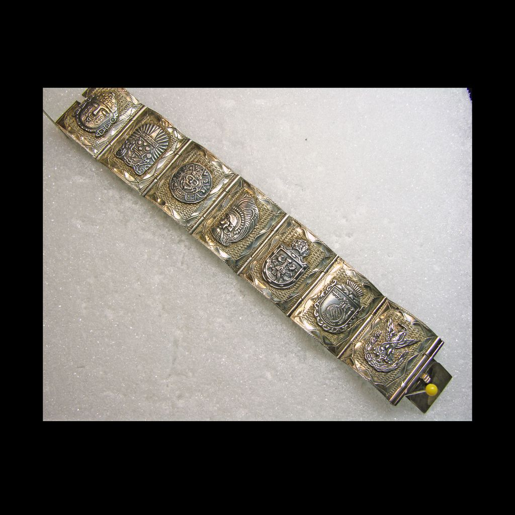 Sterling Silver Link Style Bracelet with Mayan Motif Decoration