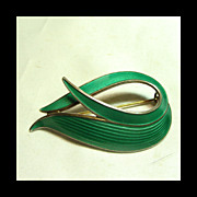 Green Guilloche Enamel Brooch by Albert Scharning