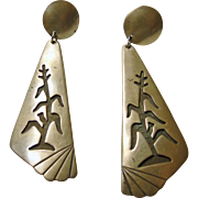 Hopi Sterling Silver Earrings with Corn Stock Motif