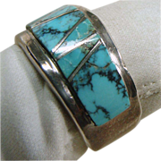 Sterling Silver Band Ring with Turquoise Inlay