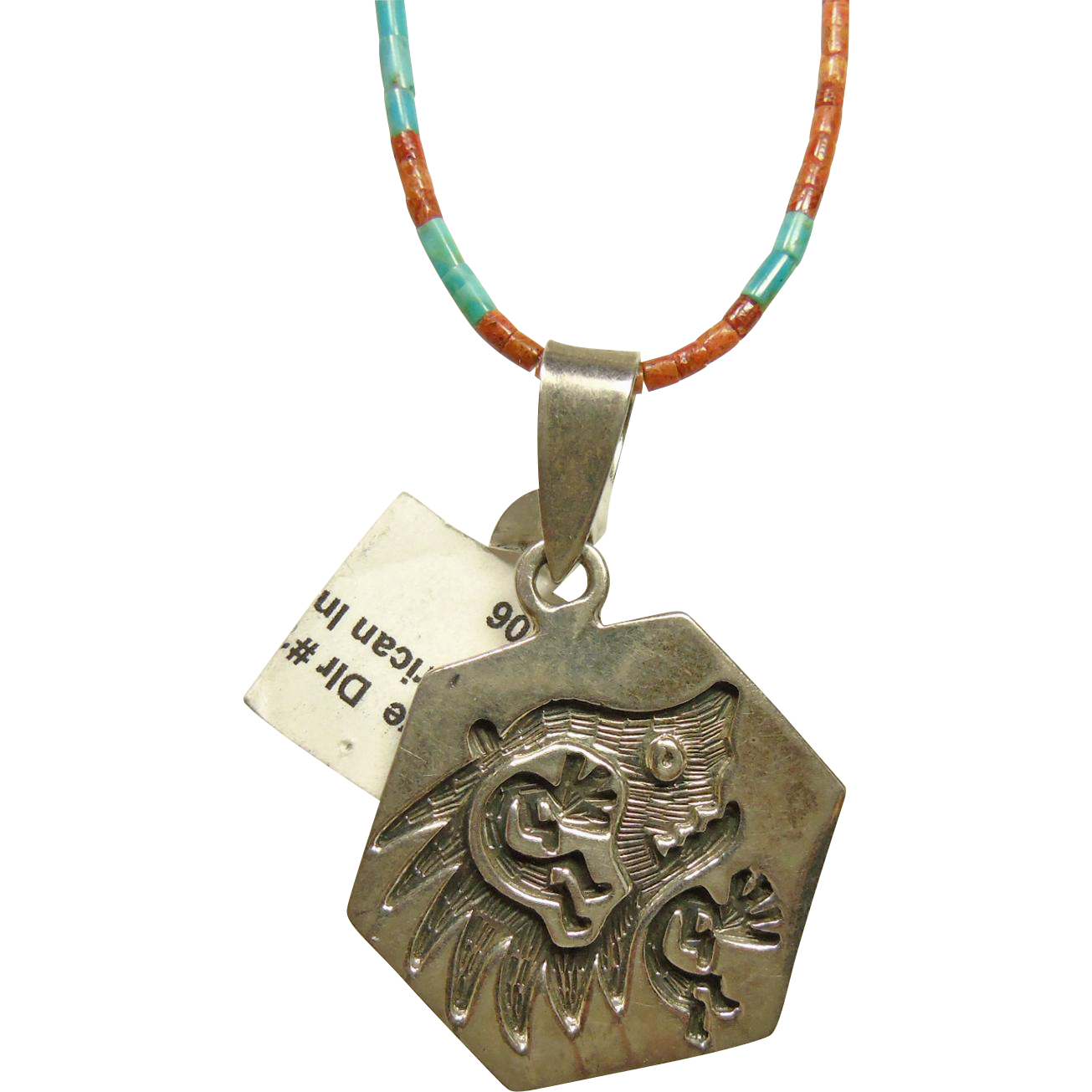 Bear Fetish Pendant on Necklace of Spiny Oyster and Turquoise Heishi