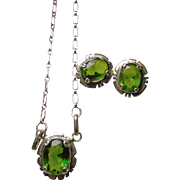 Necklace and Earrings with Oval Lab Grown Emerald  Colored Corundum Mounted in Sterling