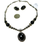 Native American Sterling Silver Black Onyx Necklace and Earrings