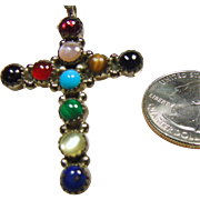 Sterling Silver Cross with Multi Colored Cabochons