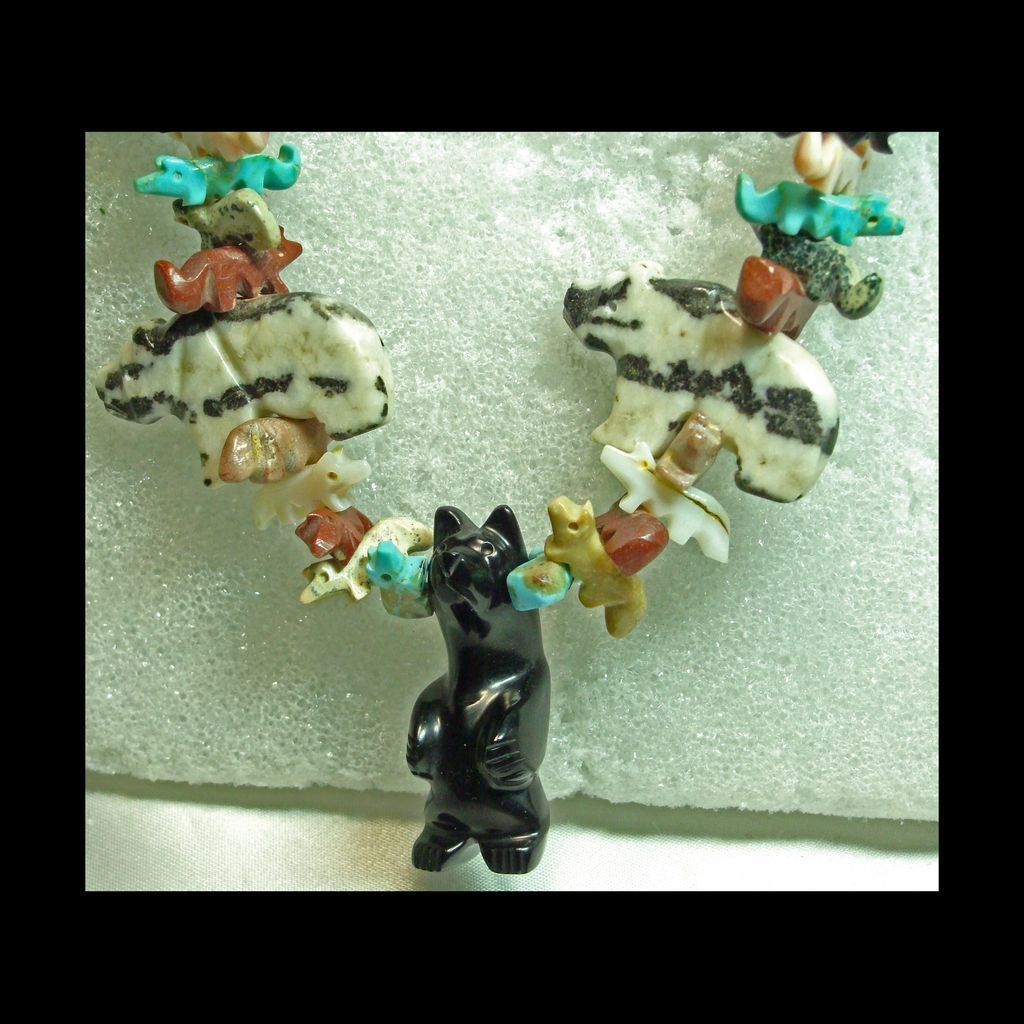 Bear and Fox Fetish Necklace with Squaw Wrap Closure