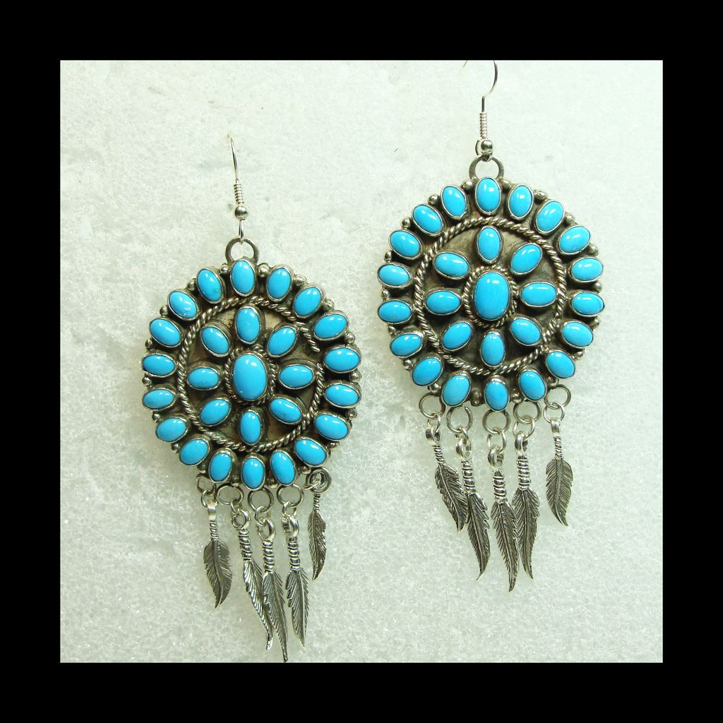 Sterling Silver Turquoise Cluster Earrings with Silver Feather Drops