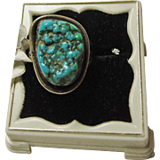 Sterling Silver Ring with Turquoise Nugget