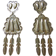 Vintage Style Sterling Silver with Repousse Decoration Earrings