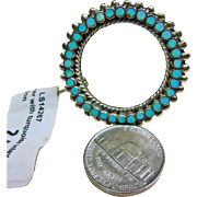 Zuni Turquoise and Sterling Silver Circle Pin/Pendant