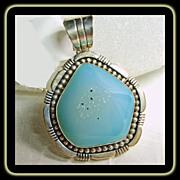 Blue Green Druzy in Sterling Silver Pendant