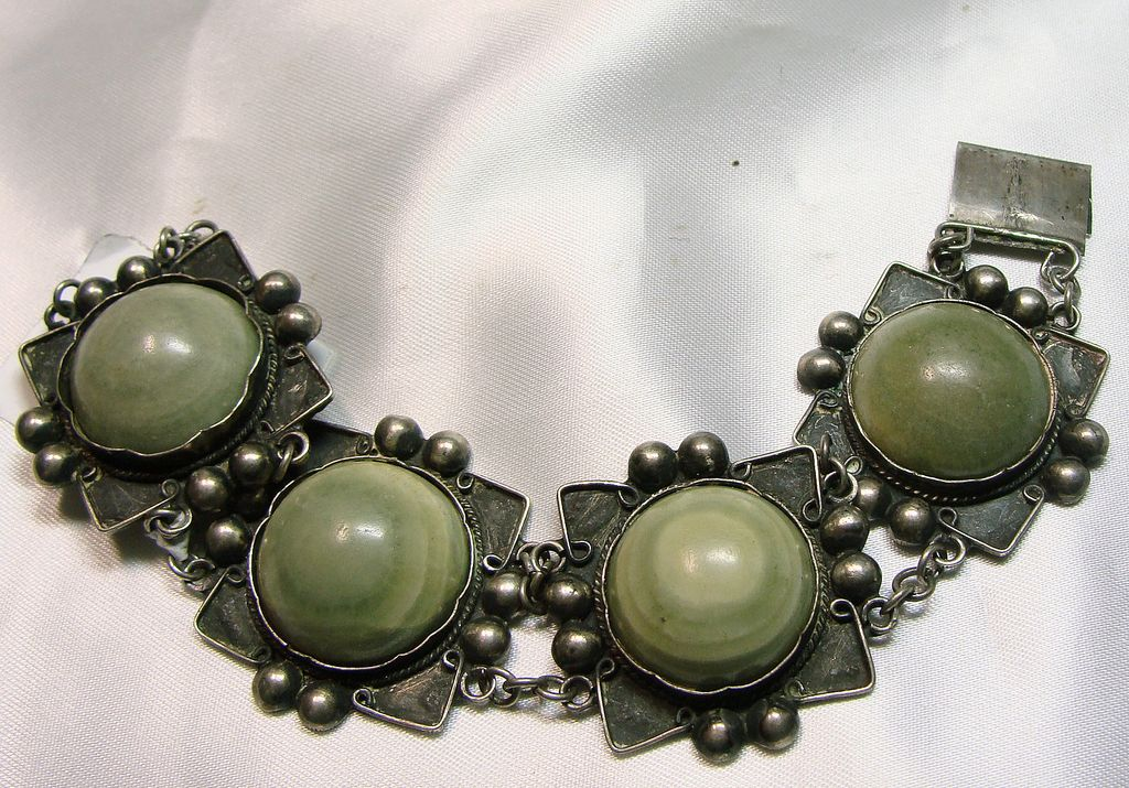 Pre-Eagle Mark Mexican Sterling Silver and Green Stone Bracelet