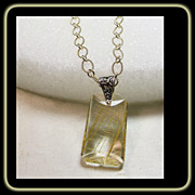 Golden Rutile Quartz Pendant on Sterling Silver Chain