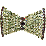 Deco Red and White Bow Shape Brooch