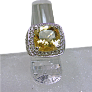 Citrine and White Topaz Sterling Silver Filigree Ring