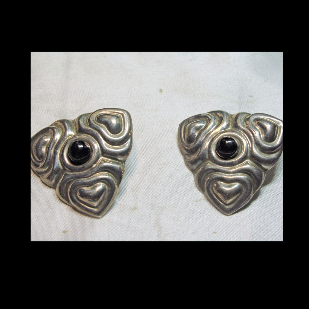 Mexican Sterling Silver and Onyx Clip Earrings