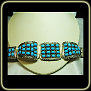 Sterling Silver and Turquoise J.W. Toadlena Bracelet
