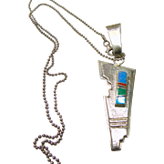 Sterling Silver Pendant with Inlay on Sterling Silver Chain