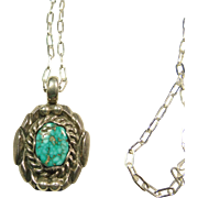 Sterling Silver and Turquoise Pendant on Sterling Chain
