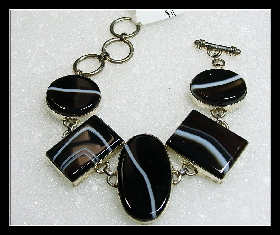Banded Black Agate Link Style Sterling Bracelet